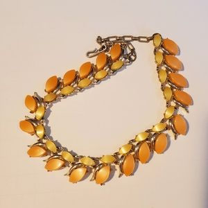 """Vintage Coral cream & gold 15"""" choker necklace"""